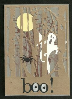 Halloween card, ghost in the woods - cards handmade - Halloween Tags, Halloween Birthday, Holidays Halloween, Halloween Crafts, Halloween Costumes, Handmade Halloween Cards, Halloween 2014, Happy Halloween, Halloween Scrapbook