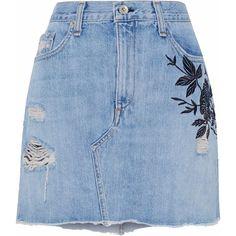 Rag & Bone/jean Embroidered distressed denim mini skirt ($195) ❤ liked on Polyvore featuring skirts, mini skirts, light denim, blue skirt, embroidered mini skirt, short skirts and embroidered skirt