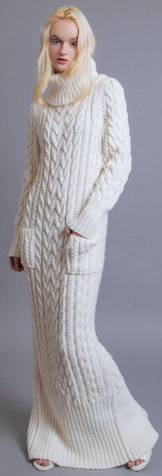 Women's Hand Knit Dress - Home Warm Dresses, Winter Dresses, Boho Dress, Knit Dress, Maxi Robes, Floor Length Dresses, Cashmere Wool, Winter Wear, Fall Winter
