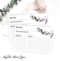 Vintage Italian Bridal Wedding Shower Recipe Card Instant Download PDF