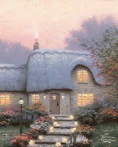 "An illustration by Thomas Kinkade from his ""Painter of Light 2013 Day-to-Day Calendar>"" Storybook Cottage, Cottage Art, Irish Cottage, Cozy Cottage, Thomas Kinkade Art, Kinkade Paintings, Thomas Kincaid, Art Thomas, Paintings I Love"