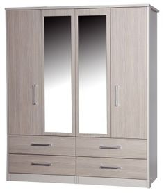 Fiona Quality Bedroom Large 4 Door Combi Wardrobe with 2 Mirrors Cream and Champagne UK Made Quality Fully Pre Assembled Wooden Wardrobe, Wardrobe Furniture, Bedroom Wardrobe, Bedroom Furniture, Living Room Tv Unit Designs, Bedroom Cupboard Designs, Bedroom Cupboards, Curio Cabinet Decor, Wall Wardrobe Design