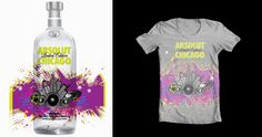 absolut vodka Chicago limited edition bottle and T-shirt design www.dalilly.com