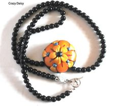 Yellow Orange Flower Necklace Blue Czech Beads Red Polymer Handmade