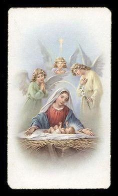 """santino-holy card""""""""ediz. FB serie ALBA n.49 ADORAZIONE DEGLI ANGELI NATIVITA'"""