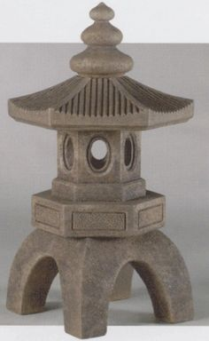 Pagoda Lantern - Oriental Statue - Lawn Ornament - Concrete - Bamboo Finish - 27.5in H x 10.25in | MonsterMarketplace.com