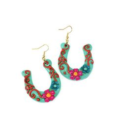 Look what I found on #zulily! Turquoise Horseshoe Drop Earrings #zulilyfinds