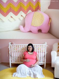 Project Nursery - Pink, Coral, Yellow You Are My Sunshine Nursery Pregnant Mama