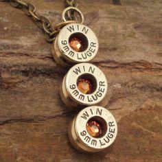 Bullet Necklace  Bullet Pendant  Fire Opal  by ShellsNStuff,