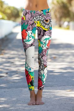 Retro Rose - 6 new designs with our new and improved leggings! They're longer, tapered at the knees and ankles and no more pesky tags! #OmShantiClothing #PowerPants #leggings #fitness #yoga #namaste #om #shanti #rose