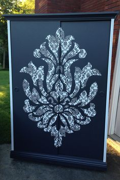 Decoupage damask wardrobe armoire