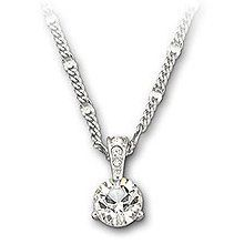 SWAROVSKI CLEAR CRYSTAL SOLITAIRE CHATON NECKLACE A beautiful clear crystal solitaire chaton pendant set from a Rhodium plated attachment with 3 smaller crystals on a dazzling rhodium plated chain.   Chain length 46cm   Brand new in Swarovski gift box.