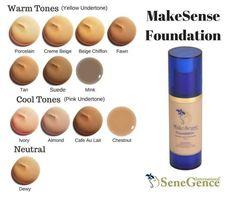 MakeSense Foundation colors by Senegence (makers of LipSense).