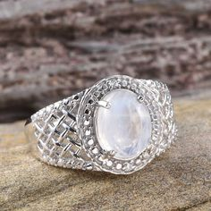 Sri Lankan Rainbow Moonstone and Simulated Diamond Ring in Platinum Overlay Sterling Silver (Nickel Free)
