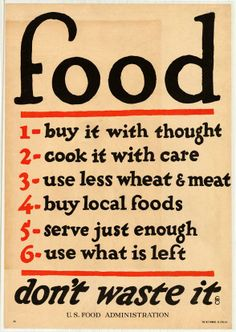 WARTIME FOOD POSTER (1917)