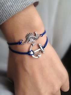 Navy Blue CORD With  Seahorse Wish Bracelet by pier7craft on Etsy, $6.50