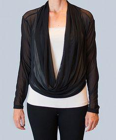 Look at this #zulilyfind! Black Sheer Drape Top by Karen Klein #zulilyfinds