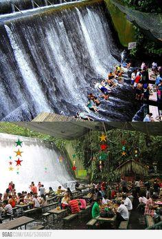 Amazing Waterfalls Restaurant in Villa Escudero, Philippines