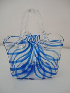 murano glass purse vases | ... Murano Style Glass Handbag Glass Art Purse Lover Handbag Flower Vase