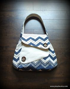 Blue Chevron Courier Bag (Indygo Junction) by Steady As She Goes