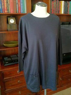 Vintage Oversized Black Jersey 3/4 Sleeve Top
