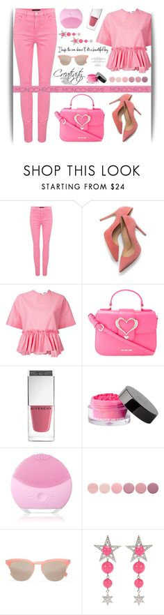 """Color Me Pretty: Head-to-Toe Pink"" by samra-bv ❤ liked on Polyvore featuring J Brand, M. Gemi, MSGM, Love Moschino, Givenchy, Beauty Is Life, FOREO, Deborah Lippmann, Elizabeth and James and Miu Miu"