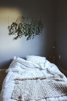 Relaxing bedroom with hanging Eucalyptus