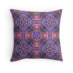 Cushion cover - Colorful Throw Pillow Cover Purple Garden. Pop over to designer's own shop at annumar.com