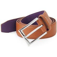 Ike Behar Saffiano Leather Belt ($20) via Polyvore featuring men's fashion, men's accessories, men's belts, mens belts, mens leather accessories, mens genuine leather belts and mens wide leather belts