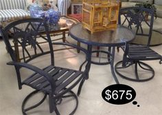 Rich Patio World bistro patio set with 2 rocker chairs and a tempered glass table.    Yesterdays Treasures Consignment  1185 Second Street Suite H  Brentwood, CA 94513  925 - 516 - 8549  www.Yesterdayststore.com  Info@yesterdayststore.com