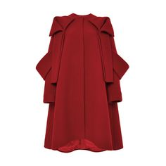 DELPOZO Red Wool Mohair Bow Detail Coat ($4,200) ❤ liked on Polyvore featuring outerwear, coats, red wool coat, red coat, long sleeve coat, collarless coat and wool coat
