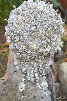 Champagne pearl cascading brooch bouquet deposit on a by Noaki