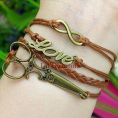 Steampunk Scissors love Infinity charm leather Wrap bracelet Brown Free shipping