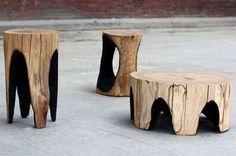 Outdoor Burned Wooden Furniture