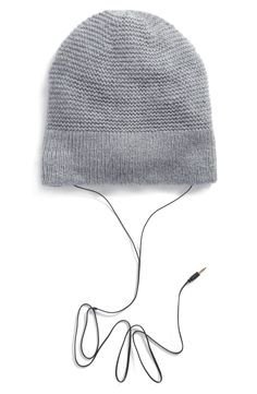 Slouchy Beanie with Headphones - the pale pink color is so cute! Holiday  Gift Guide 677a321866f4