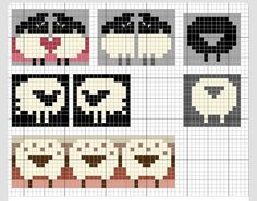 Ravelry: Love sheep pattern by Eve Laine. I& love to redraw these on knitting graph paper because I doubt they& turn out as they appear on ordinary graph paper once knit. But they are very sweet! Fair Isle Knitting Patterns, Fair Isle Pattern, Knitting Charts, Knitting Designs, Knitting Stitches, Knitting Projects, Baby Knitting, Knitting Tutorials, Vintage Knitting