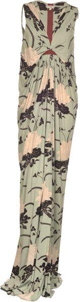 Hoss Intropia Green Jersey Patterned Maxi Dress in Jade