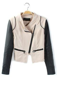 Paneled Sleeve PU Jacket - OASAP.com