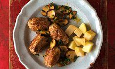 Frikadeller with mushroom, parsley and boiled potato and celeriac Trine Hahnemann