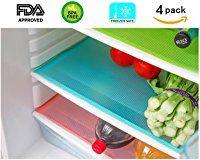 4 Pack Fridge Pads, UShow Multifunctional Anti-bacterial Anti-fouling Anti-frost Waterproof Refrigerator Pads Shelves Drawer Table Mats - Random Color