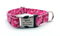 Camo Bones Polyester Webbing Dog Collar with Laser Engraved Personalized Buckle