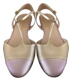 10d1edf523 Chanel Gold and Lavender Rare Pearlescent Gold/Lavender Leather Ankle T  Strap Cc Sandals Size