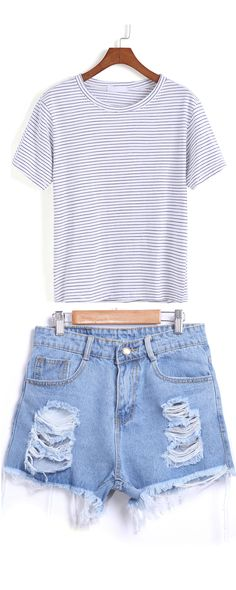 Blue Ripped Fringe Denim Shorts +Light Stripe Loose T-shirt.That's how to style with sneakers.
