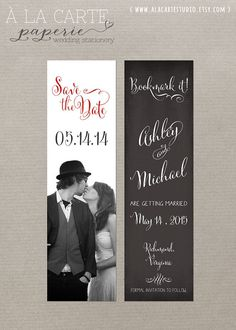 Save the Date Bookmark #6 - Chalkboard Save the Date - Vintage Wedding - Rustic Wedding on Etsy, $60.00