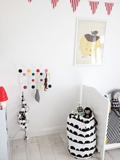 This colorful coat rack provides just the right color pop - not too little, but not too much.