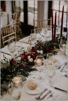 Rich Red & Burgundy Wedding for Valentine's Day ~ floral table runner with red tall tapers wedding centerpieces decor Wedding Bouquets Winter Wedding Centerpieces, Wedding Table Centerpieces, Flower Centerpieces, Centerpiece Ideas, Wedding Table Runners, Tall Centerpiece, Long Wedding Tables, Red Table Decorations, Fall Wedding Table Decor