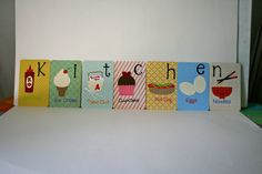 Alphabet cards spelling out KITCHEN. by HandmadecardsbyHJM on Etsy, $35.00