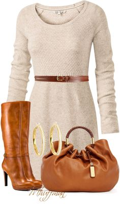 A fashion look from January 2013 featuring long sleeve short dress, jessica simpson boots and michael kors tote bag. Browse and shop related looks. Fall Outfits, Casual Outfits, Cute Outfits, Fashion Outfits, Womens Fashion, Fashion Tips, Work Fashion, Fashion Looks, Elisa Cavaletti