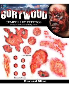 Tinsley Transfers Burned Alive Trauma Temporary Tattoo FX Kit Red Beige for sale online Wound Makeup, Blood Makeup, Burn Tattoo, Real Tattoo, Large Temporary Tattoos, Large Tattoos, Halloween Makeup Looks, Halloween Make Up, Halloween Season
