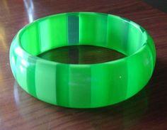 Vintage 1960's Green Striped Lucite Bangle Bracelet from vintagevault on Ruby Lane